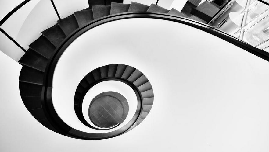 un escalier en spirale de Fibonacci